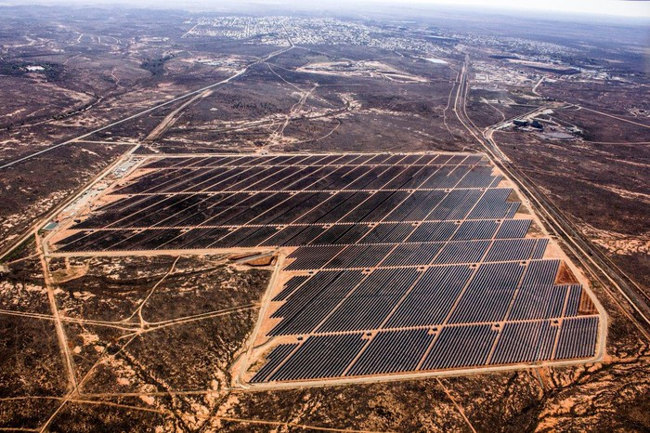 Aerial view of First Solar utility solar farm.