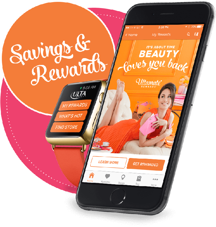 """The Ulta loyalty program mobile app with a sticker that says """"Savings and rewards"""""""