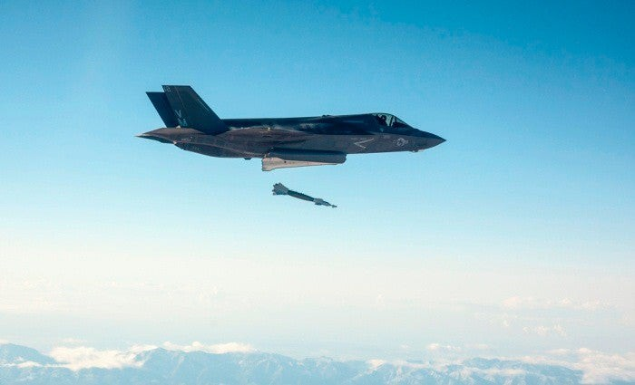 F-35 dropping bomb.
