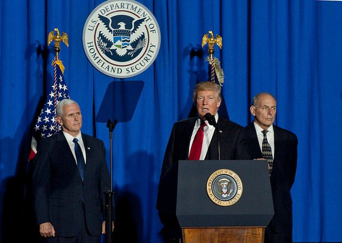 Donald Trump speaking to Department of Homeland Security employees.