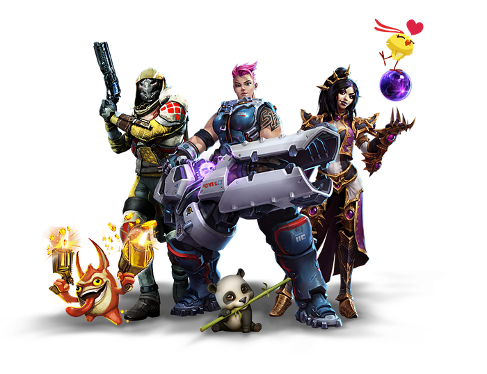 "A lineup of characters from some of Activision Blizzard's biggest gaming series, including ""Skylanders"", ""Destiny"", ""Overwatch"", ""Candy Crush"", and ""World of Warcraft""."