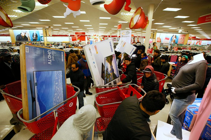Black Friday shoppers line up at the registers at Target.