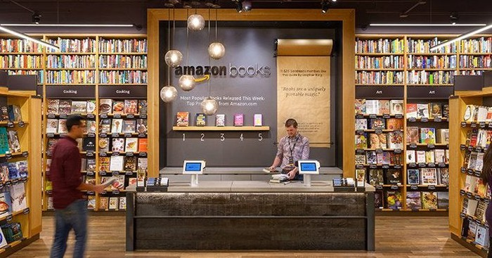 Picture of the inside of an Amazon Books store.