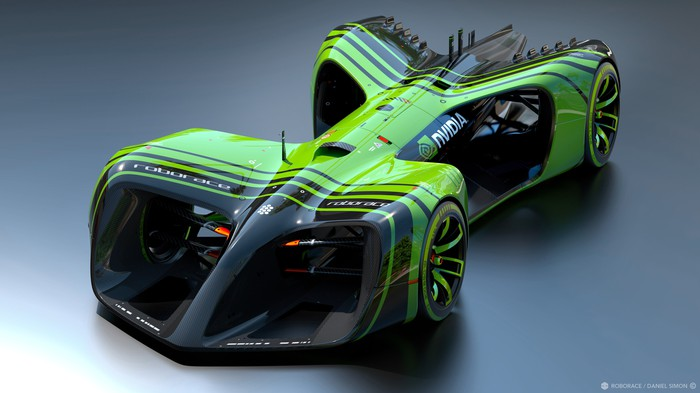 The Robocar, pictured here in green and black, has no cockpit for a driver.