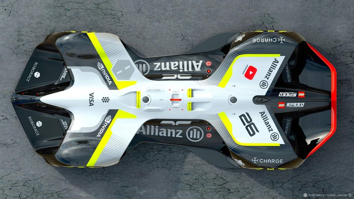 A top-view of the new Robocar, with no cockpit and an on-board computer and sensor array replacing a driver.