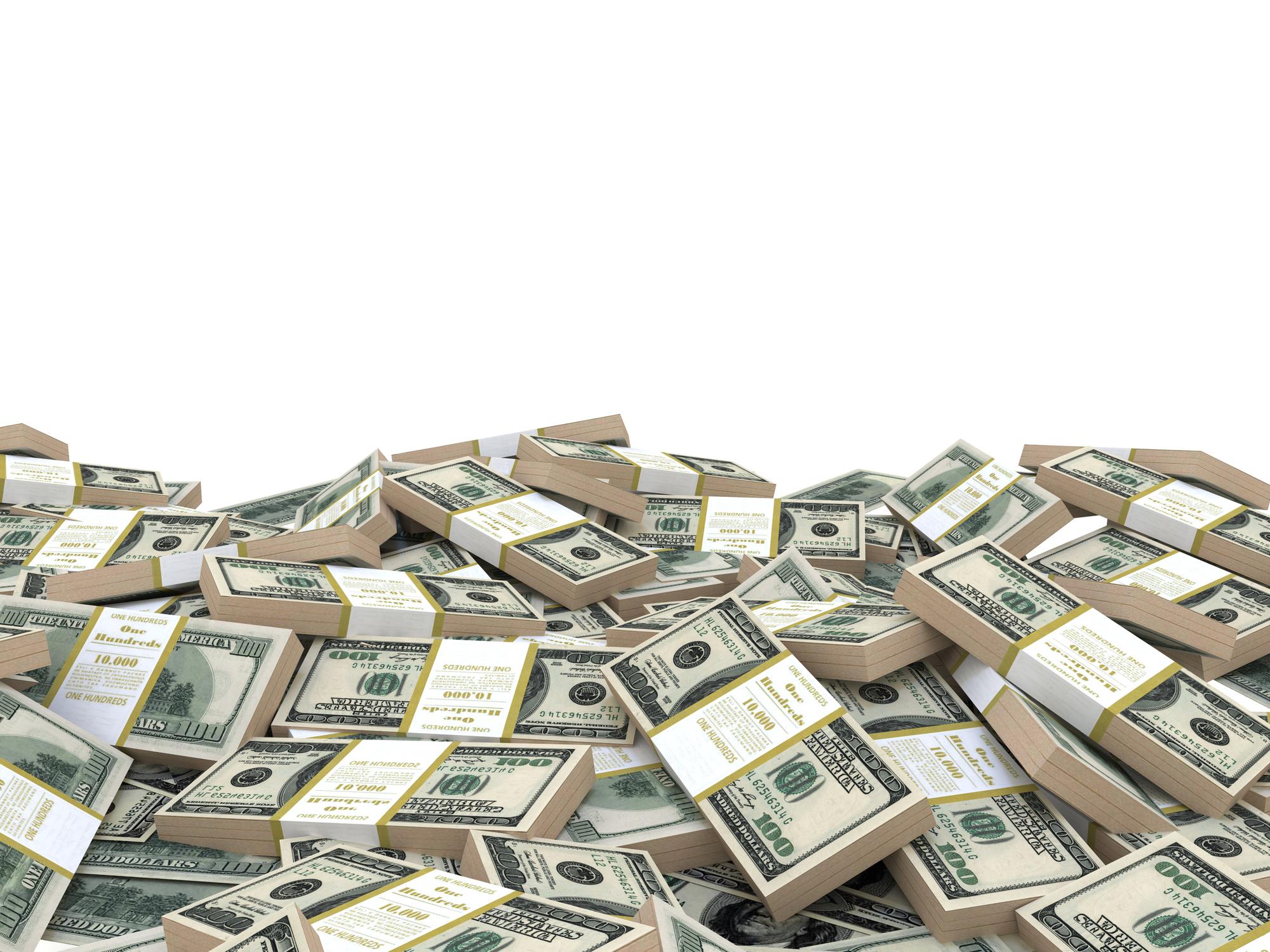 A pile of banded hundred-dollar bills.