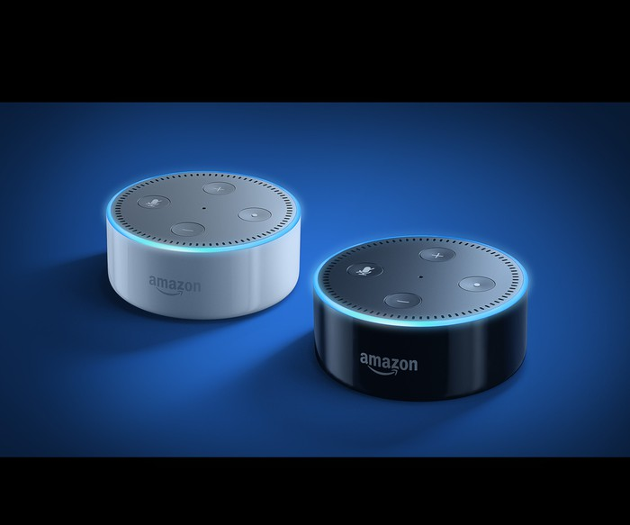 Echo Dot in black and white models.