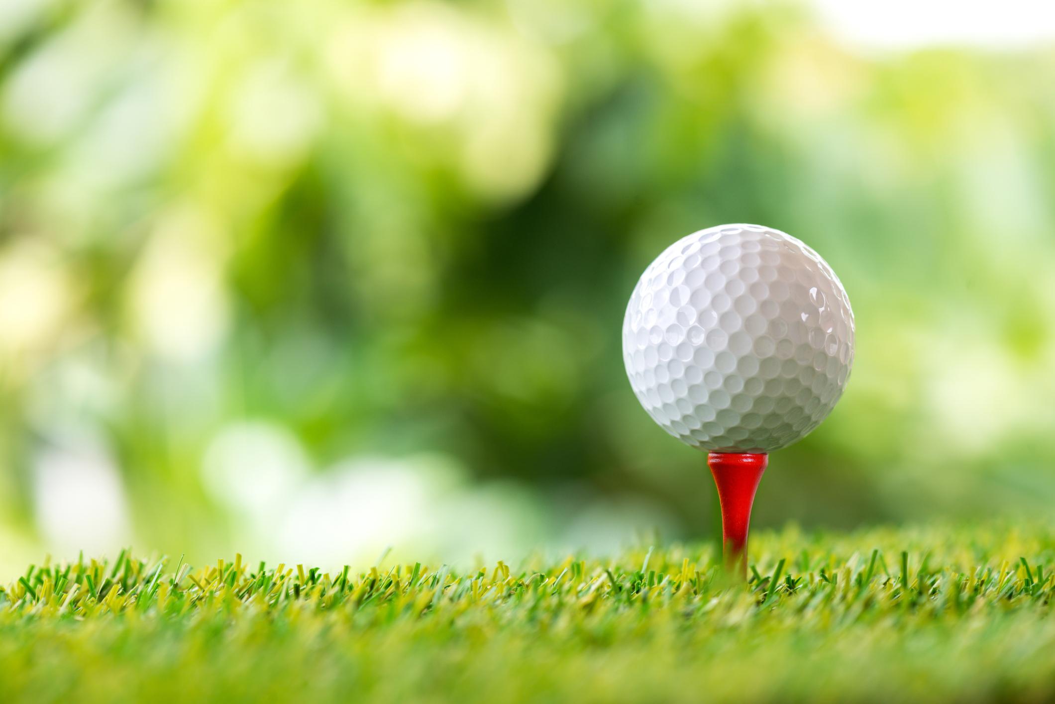 A golf ball on a tee.
