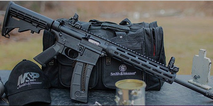 A Smith & Wesson M&P 15 modern sporting rifle