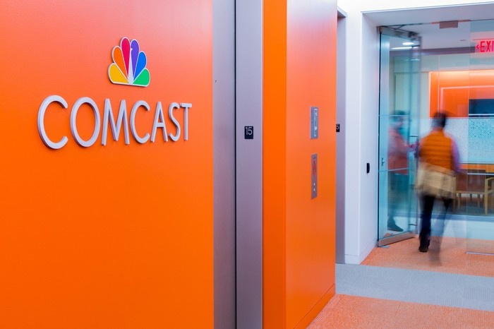 Comcast logo on an elevator bank at its corporate headquarters in Philadelphia