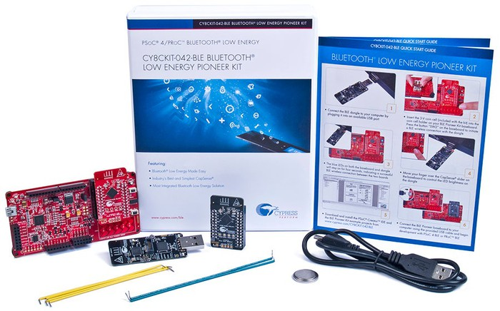 A picture of one of Cypress' development kits, which comes with a programmable kit, software for developers, and connectors.