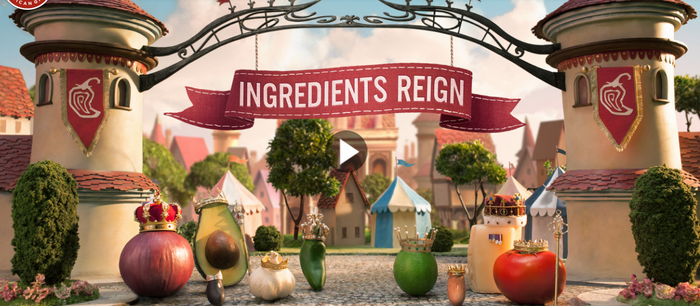 Chipotle's ingredients Reign commercial snapshot