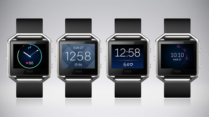 The Fitbit Blaze with different watch faces.