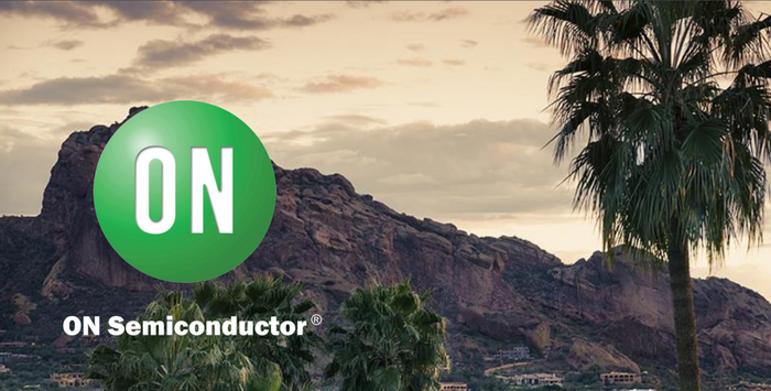 A picture of a desert mountain with ON Semiconductor's logo displayed above.
