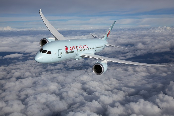 An Air Canada plane in flight.