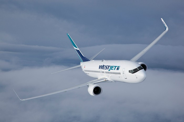 A WestJet plane in flight.