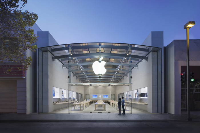 People standing outside an Apple Store in Palo Alto, California
