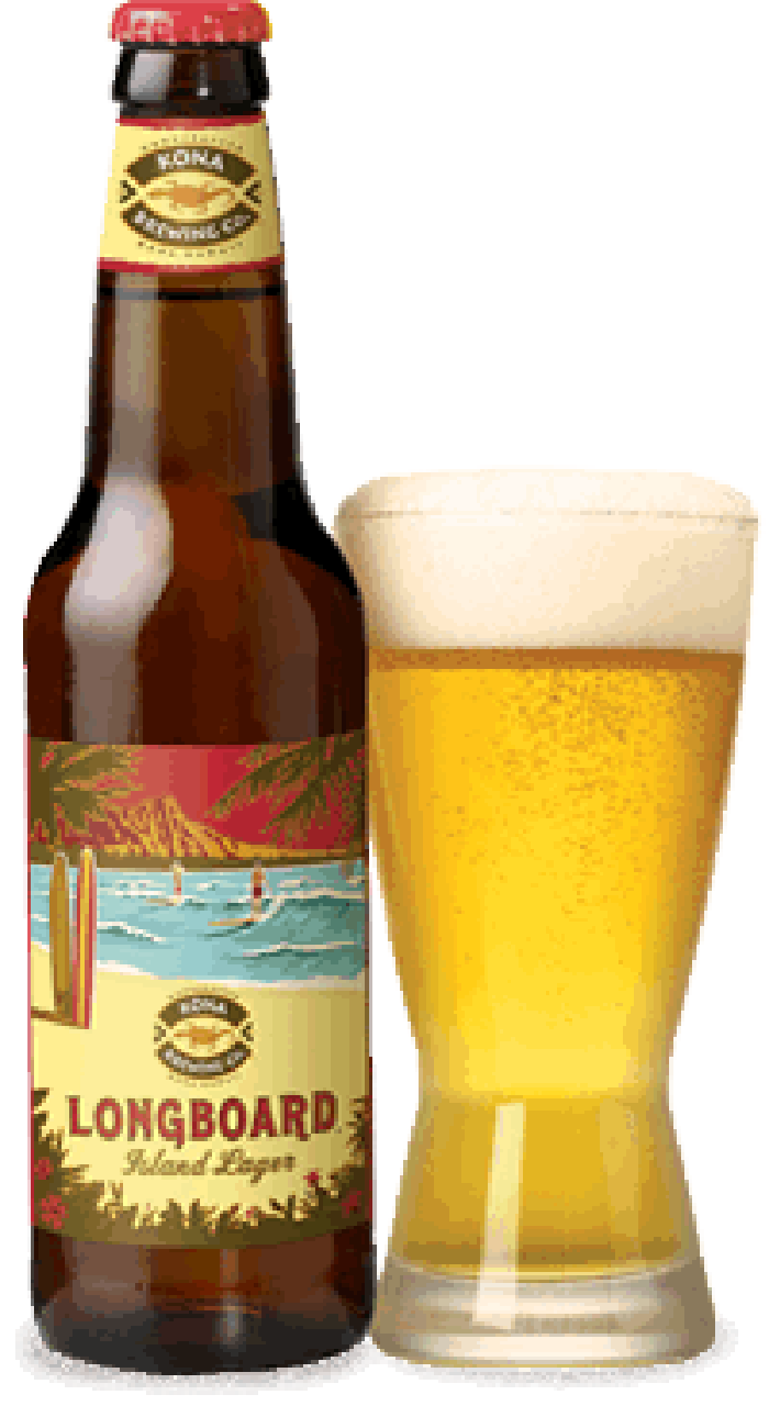 A bottle and pint of Craft Brew Alliance's Kona Brewing Longboard beer.