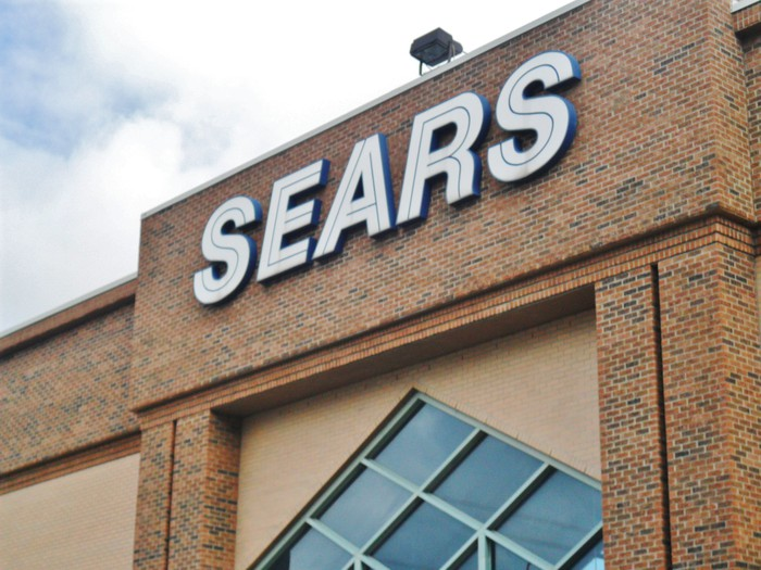 An exterior shot of a Sears store