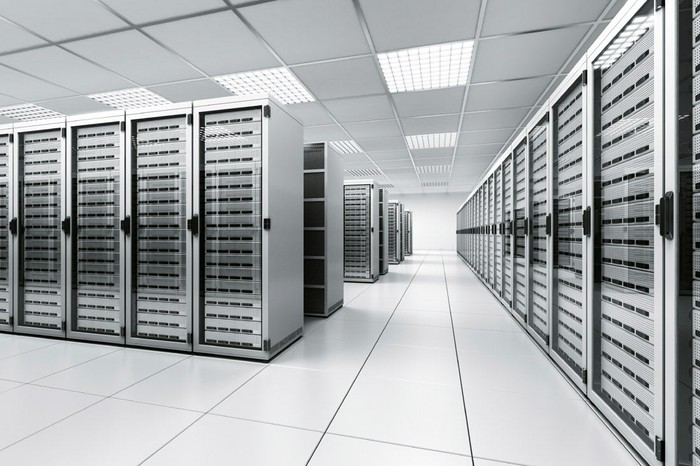 A data center with racks of servers.