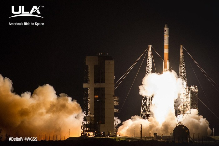 """Delta IV at launch. Image imprinted with logo: """"ULA: America's Ride to Space."""""""
