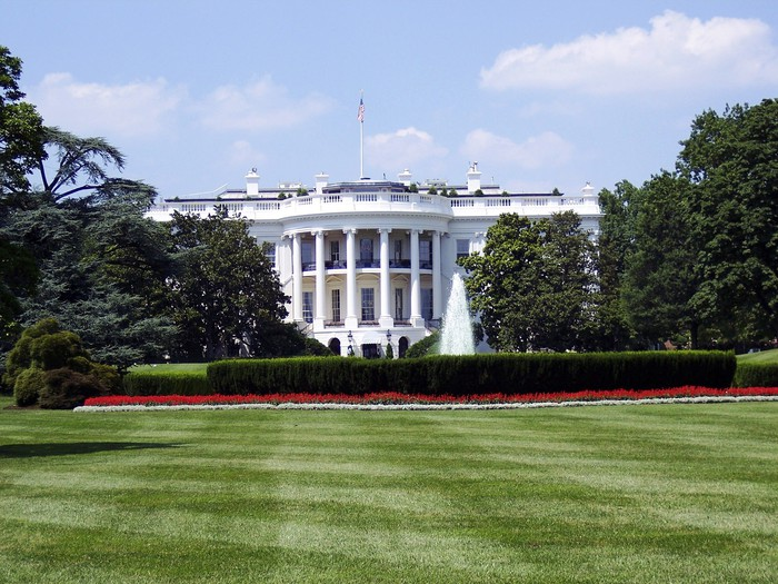 US White House and lawn.