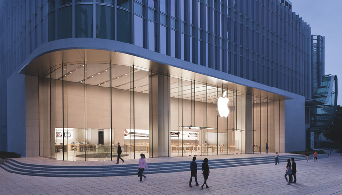 Exterior of an Apple store in Shanghai
