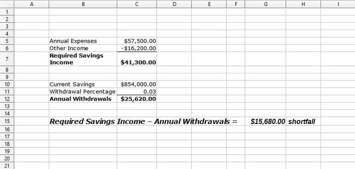 Sample retirement spreadsheet