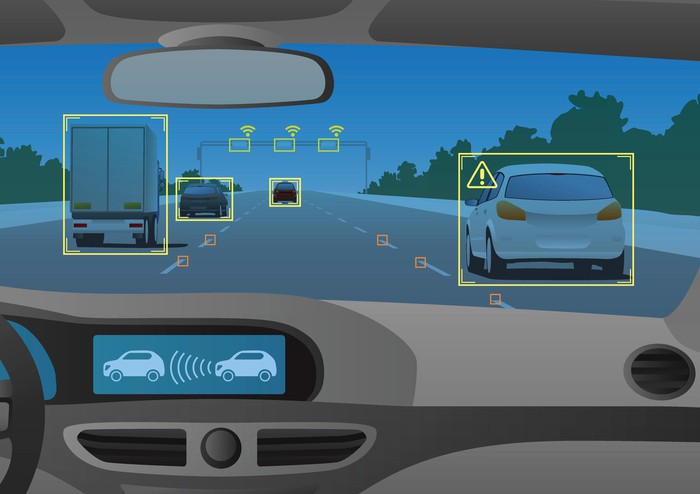 Cartoon of cameras and sensors identifying vehicles and objects while a vehicle is in motion.