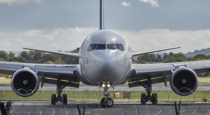 An airplane on the runway.