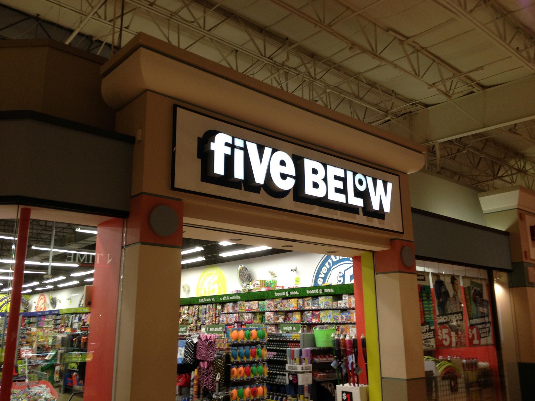 A Five Below store inside a mall