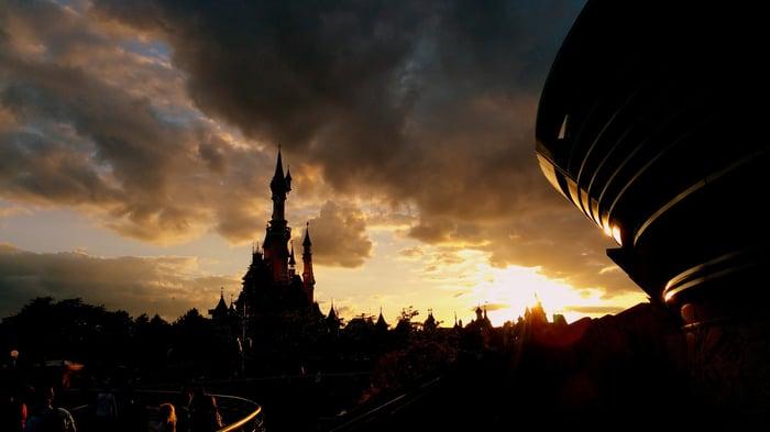 Sunset over Disneyland Paris.