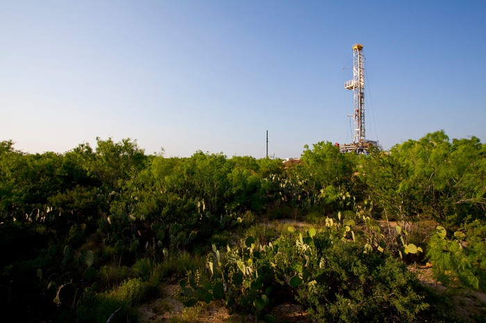 A drilling rig in the Eagle Ford shale.