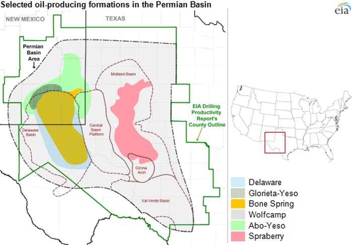Map of the Permian Basin and associated shale plays.