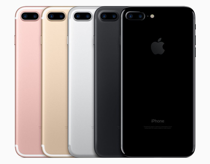 The iPhone 7 Plus in five different color options
