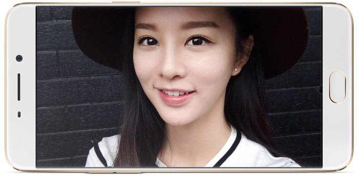 An image of a woman on an OPPO R9 phone screen