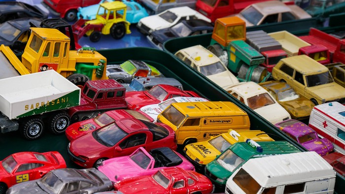 Toy cars set up to represent traffic
