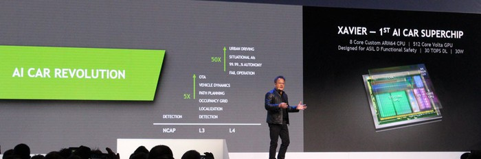 NVIDIA CEO Jen-Hsun Huang introducing his company's new self-driving partnership with Bosch