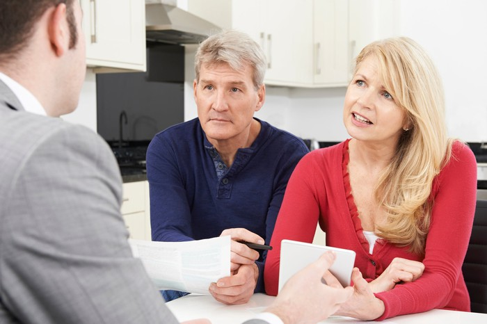 Couple discussing refinancing with their lender