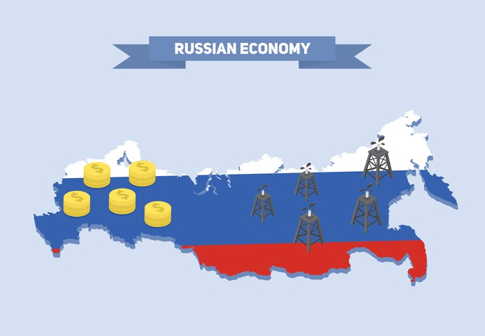 Map of Russia sprinkled with oil and money icons.