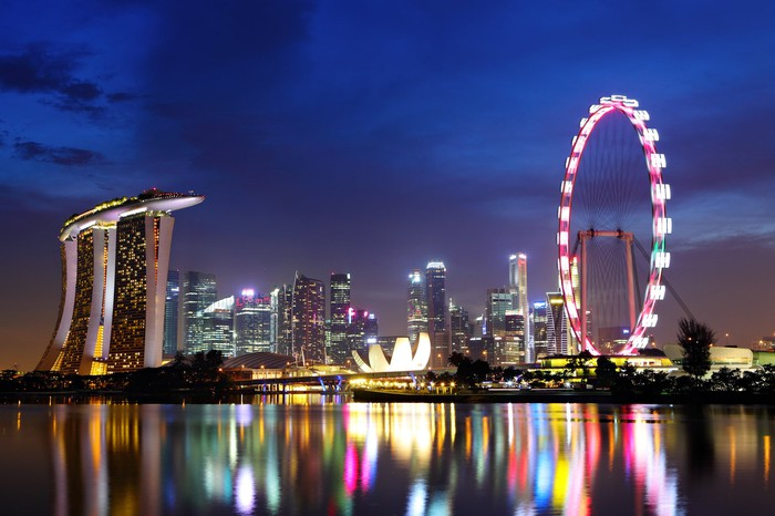 The Singapore skyline with reflections of the buildings and ferris wheel in the night water.