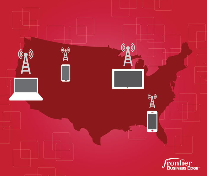 A map featuring Frontier's many telecommunication offerings.