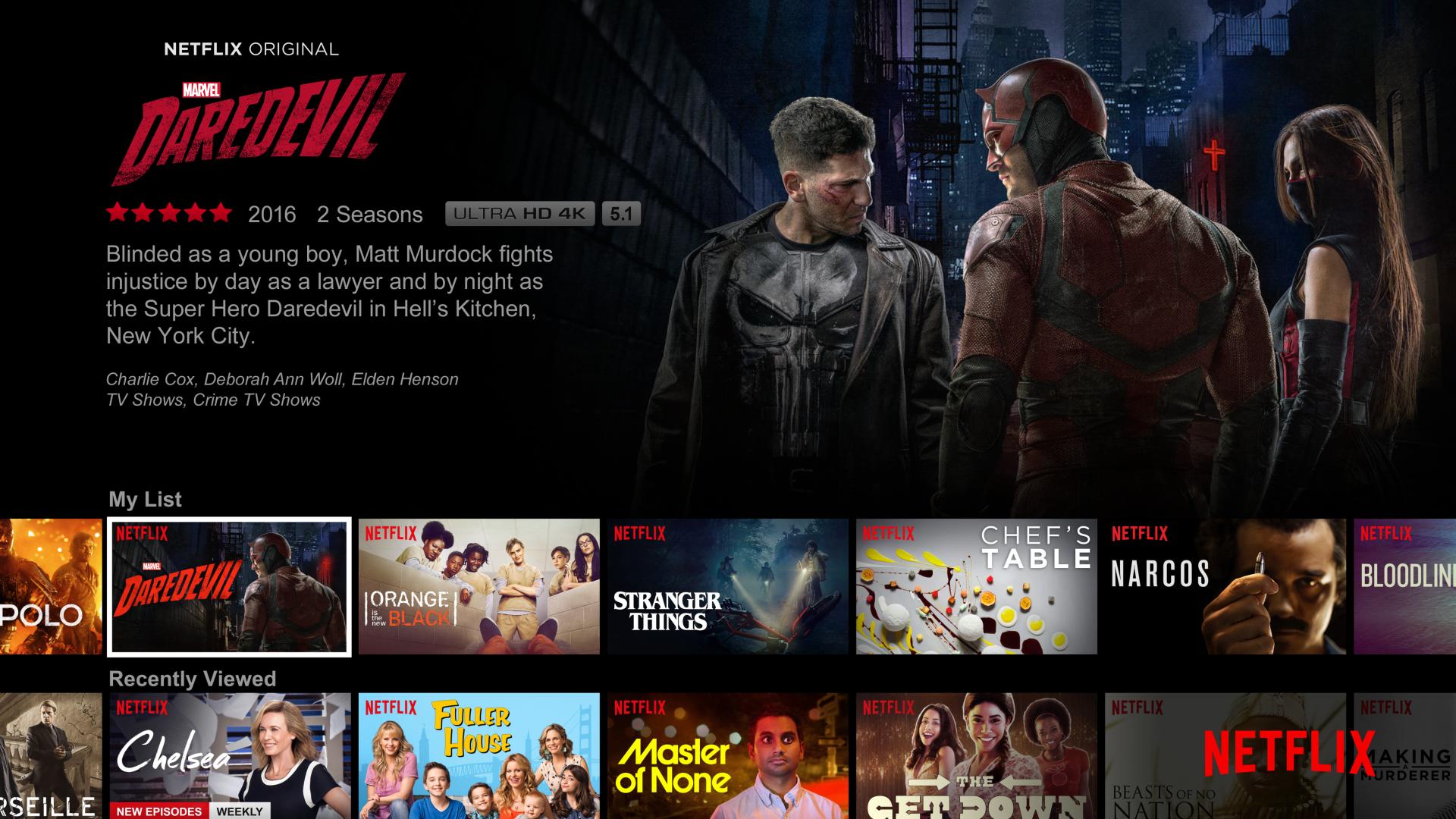 A Netflix user's home screen.