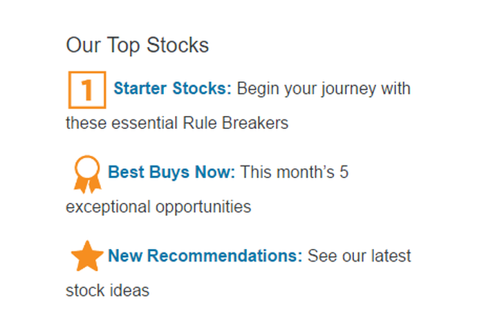 Three recommendation categories: Starter Stocks, Best Buys Now, New Recommendations.