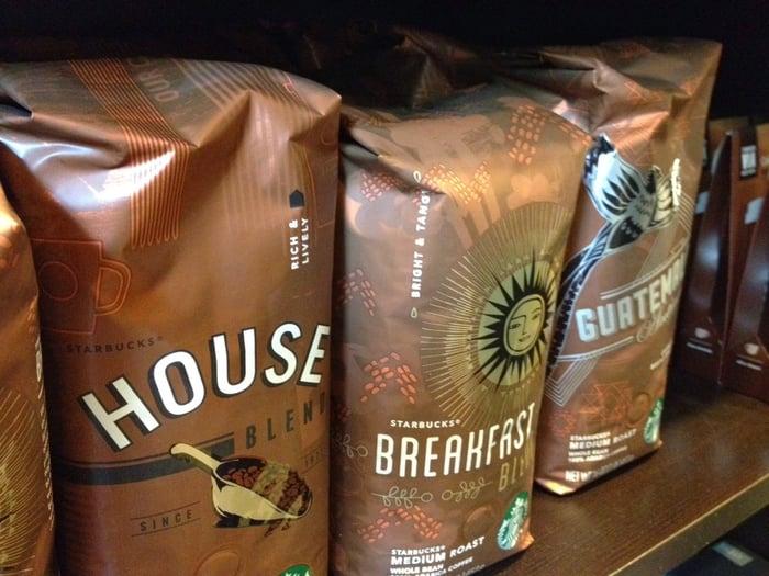 A row of Starbucks coffee bags