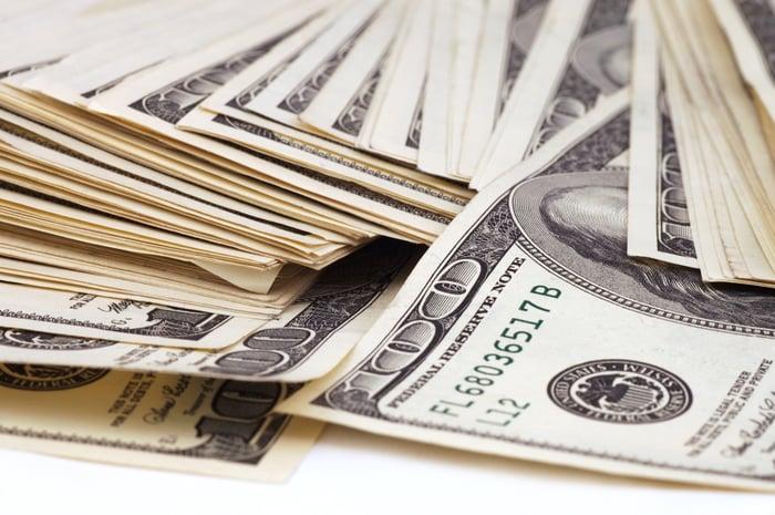 Stacks of $100 bills.