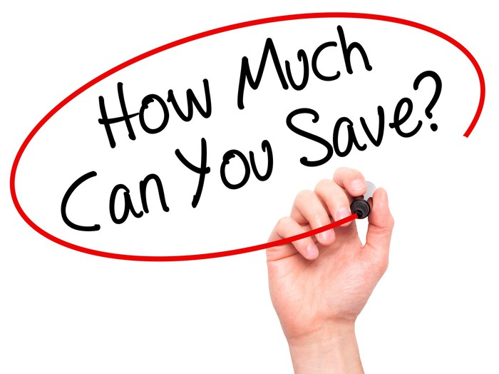 """""""How much can you save?"""" written on white background and a hand circling it in red"""