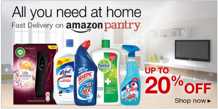 Amazon Pantry promotional material showing cleaning products.