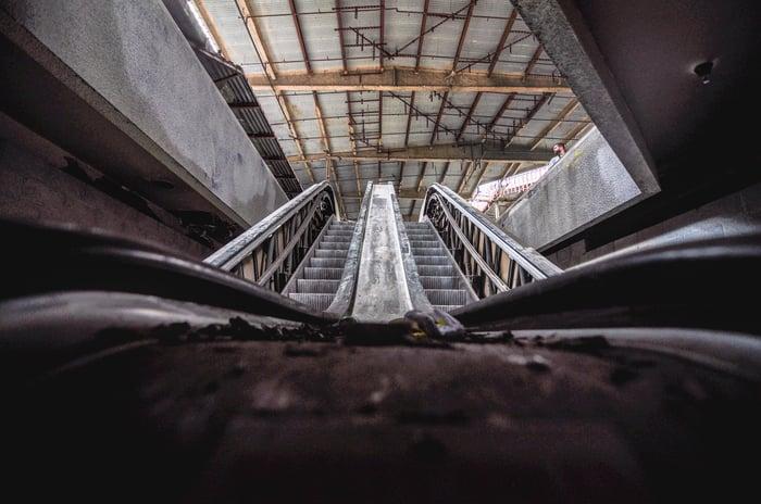 Abandoned mall escalator.