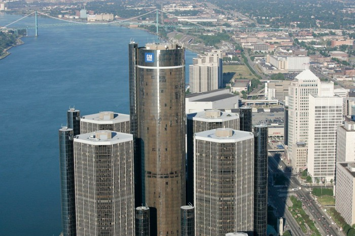 Skyline of Detroit, Michigan, with General Motors' headquarters in the foreground.